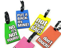 Real Leather Travel Accessories Letter Free shipping, 40pcs lot, PVC cartoon luggage tag,Mix color