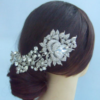 Wholesale Wedding Bridal Hair Accessories Flower Hair Comb Rhinestone Crystals FSE04705C1