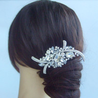 Wholesale Tiara Bridal Flower Hair Comb Wedding w Clear Rhinestone Crystals FSE04486C1