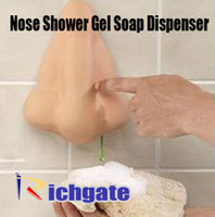 Cheap 5pcs Funny Nose Shower Gel Soap Dispenser Liquid hand washing soap dispenser Novelty Home Bathroom item