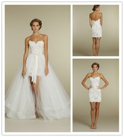 Wholesale 2013 New Arrival Strapless Sweetheart Lace Wedding Dresses Detachable Skirt Wedding Gowns Bridal Dresses Cocktail Dress Garden Bridal Dress