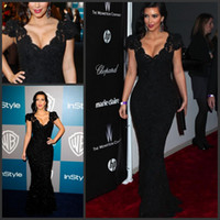 Lace Short Sleeve Floor-Length Sexy Kim Kardashian Dresses Mermaid Black Lace Evening Prom Gown