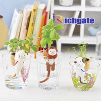 Artificial Plants   Self-Watering Tail Planters Animal cup Artificial plants Cat wild strawberries Dog clover Monkey basil Novelty Home Garden Decor EMS