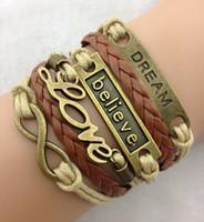 Wholesale New Arrivals Bronze infinity Bracelets Believe Love Dream Woven Leather warp Wax Rope Bracelet Excellent Quality hy47