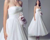 beautiful affordable prom dresses - Plus Size Beautiful White Organza Tea Length A Line Wedding Dresses Lace Flower Sash Affordable Cheap Bridal Evening Prom Party Dress