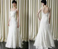 Spaghetti beautiful affordable wedding dresses - ALL SIZE Beautiful White Pure Lace A Line Wedding Dresses Spaghetti Backless Ribbons Sash Affordable Bridal Dress