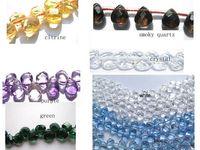 amethyst briolette beads - 20 off strands Rock Crystal quartz genuine clear white blue green amethyst quartz bead teardrop drop briolette beads x8mm