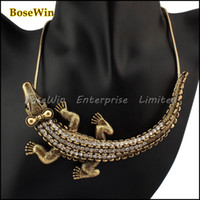 Fashion bib dresses - Fashion Vintage Snake Chain Exaggerated Inlay Rhinestones Lovely Crocodile Pendant Bib Statement Necklace For Women Dress CE1094