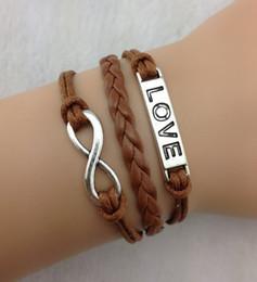 Bracelets Infinity handmade leather bracelets heart Love Charm Bracelet in Silver Bracelet wax cord one direction jewelry hy50