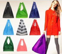 Wholesale New Fashion Foldable Waterproof Storage Eco Reusable Shopping Tote Bags Quality shopping bag pouch Y631 colors
