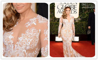 Wholesale Real Photos Zuhair Murad th Golden Globe Awards Lace Evening Dresses Celebrity Dress Red Carpet Long Sleeves