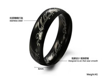 Wholesale Factory Outlet Korean fashion jewelry black Supreme Lord of the Rings Men s titanium steel rings GJ324 black