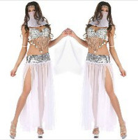sexy halloween costumes - 3 Colors Sexy Sequin Arabic Belly Dance Costume Halloween Costume For Lady Sexy Indian Queen Party Costume Blue Silver L10936