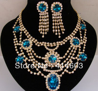 Wholesale Wegirl Teal Statement Jewelry Sets Rhinestone k Gold Plated collar Necklace Earring Fashion Jewelry2T207