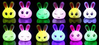 Wholesale NEW Many Lovely Rabbit Light Lamp Color Change LED Lamp Night Light Baby Sleeping Home