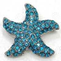 Men's aquamarine fashion jewelry - Aquamarine Crystal Rhinestone Starfish Brooches Fashion Costume Pin Brooch jewelry gift C2156 R