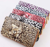 Wholesale Hot New Arrival Leopard Printing Lady Wallet Cell Phone Case Zipper Handbag Purse