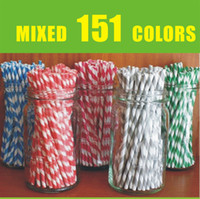 Wholesale by express colors environmental party Striped chevron and Polka Dot Drinking Paper Straws