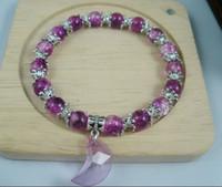 Wholesale Hot sale Octagonal Bead Caps mm Purple Round Glass Crackle Beads Bracelets Acrylic Moon Pendant a009