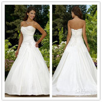 Wholesale Custom Made sexy modest A lline strapless court train satin beaded corset Wedding Dresses gowns