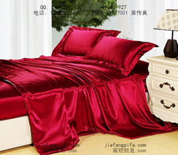 Purplish Wine Red Mulberry Silk Bedding set Queen King size quilt duvet cover bed sheet sheets line bedspread bedclothes bed in a bag 4PCS