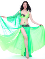 Belly Dancing Ruffled Chiffon Deluxe Bra with Long Skirt full set Belly Dance Performance Costume Dress