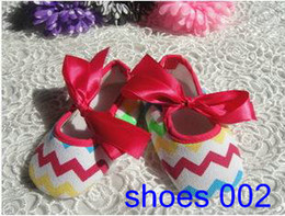 Wholesale Chevron Toddler Infants Shoes Bow Soft Sole Rubber Shoes First Walker Footwear shoes