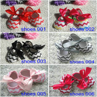 Summer soles - Adorable Chevron Bowknot First Walker Shoes Chevron Butterfly Soft Sole Rubber Shoes Baby girl Toddler Non slip Footwear shoes