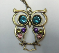 Wholesale Christmas gift Fashion jewelry Vintage Three color Embedded drill Hollow carved Owl Pendant Necklace