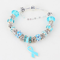 "Charm Bracelets   DIY 8.3"" Blue Breast Cancer Awareness Ribbon Dangle Murano Glass Bead Charm Bracelet Jewelry Finding"