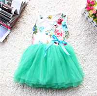 TuTu Summer Pleated 2014 new girls dresses girl tutu dress baby clothing flowers kids cotton lace dress new arrival Summer dresses girls baby tutu dress