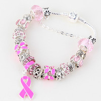 "Women's Gift Silver Plate/Fill DIY 8.3"" Pink Breast Cancer Awareness Ribbon Dangle Murano Crystal Bead Charm Bracelet Finding"