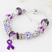 Wholesale DIY quot Purple Breast Cancer Awareness Ribbon Dangle Murano Crystal Bead Charm Bracelet Finding