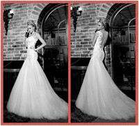 Reference Images Spaghetti Tulle 2013-2014 Galia Lahav Vintage Wedding Dresses Spaghetti Straps Mermaid Lace Sequins Wedding Dress Backless Wedding Gowns Sexy Bridal Dresses