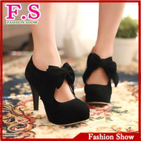 Wholesale vintage retro style woman small bowtie platform pumps lady s sexy high heeled shoes sandals for women HH270