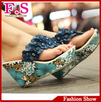 Wholesale Brand New Arrival Fashion Bohemia Stylish Flower Flip Flops High Wedges Heel Platform Sandals for Women Summer Shoes SA226