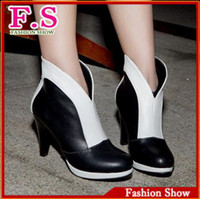 Wholesale Big Size Fashion Women s Ankle Boots British Italian Style Shoes High Heels Platform Leather Shoes Sexy Martin Boots HH454