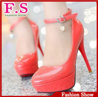 Wholesale fashion women sexy high heels pumps red bottom platform shoes patent leather HH126 big size hot sale