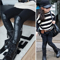 Girl 0-3 Months Spring / Autumn 2013 new arrival girls autumn winter PU leather patchwork leggings 110-150 kids knitted legging 947