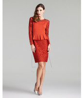 Short/Mini Reference Images Crew Jewel Beading Red Lace A Line Beading Long Sleeve Peplum Short Special Celebrity Dress Cocktail Dresses
