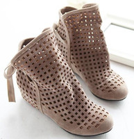 Women Spool Heel PU Free shipping 2013 cutout summer ankle boots for women fashion inside wedge heels cutout sandals SA418 hot sale big size 34-43