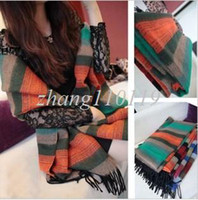 Scarves Patchwork Adult Free shipping! 2013 New style cashmere like women's yarn faux muffler scarf colorful fashion plaid tassel scarf cape dual
