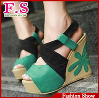 Women Spool Heel PU Factory sell Fashion Women's wedge heel peep toes dress shoes lady's chic sandals size 33-39 Green Orange Peach-red SA151