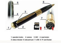 pen camera - High Quality Gold Spy Pen Camera HD Mini Video Hidden Camera Recorder DVR
