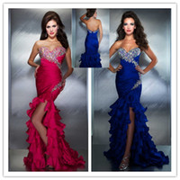 Wholesale Sexy Mermaid Shiny Evening Dresses Ruffles Blue Fuchsia Corset Crystals Beaded Evening Pageant Gowns