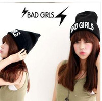 Wholesale 1034 South Korea act as purchasing agency hip hop BAD GIRL flanging three dimensional embroidery knitting wool hats