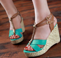 Women Spool Heel PU Fashion High Heels Platform Wedges Sandals 2013 Rome Stylish Chain Cut Out Nude Red Green Dress Shoes Chic Sandals SA150