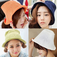 Wholesale 2014New Korea Style Simple Girls Bucket Hats Women Fresh Hemming Mesh Knit Caps Lovely Fashion Pure Color Hollow Caps colors