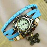 Wholesale New Arrivals High Quality Women Genuine Leather Vintage Watch Classic bracelet Wristwatches butterfly design