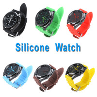 Wholesale 4pcs Fashion Silicone Strap Watch Colors Wristwatch for Men Women Unisex H9833BL B GR R Y K